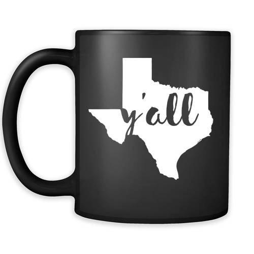 Texas cup Texas coffee mug - Yall Texas mug - Texas coffee cup Texas state mug 11oz Black US State mugs
