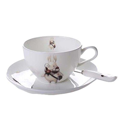 Cute Rabbit SpoonTea CupSaucer Set Coffee Cup White Porcelain Coffee Mug 61OZ