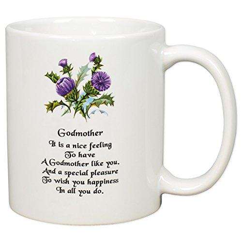 Godmother Sentiment Thistles White Porcelain Coffee Mug