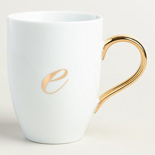 Gold Monogram White Porcelain Coffee Mug Tea Cup Letter E