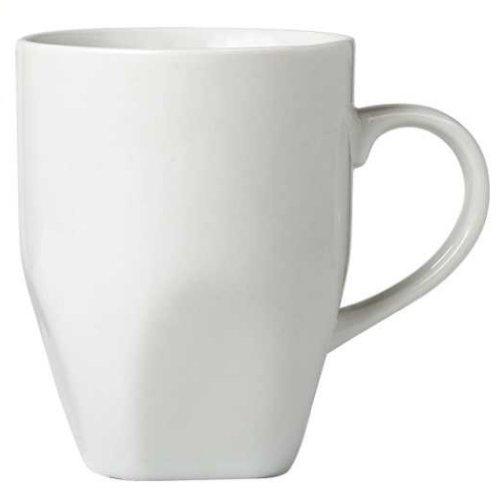 Set of 4 White Porcelain Coffee Mugs 12 Oz Each