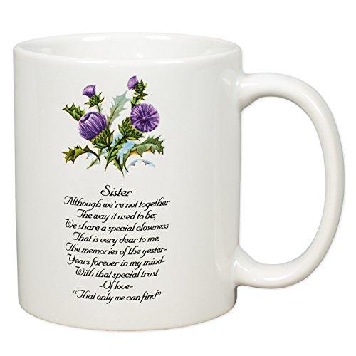 Sister Sentiment Thistles White Porcelain Coffee Mug