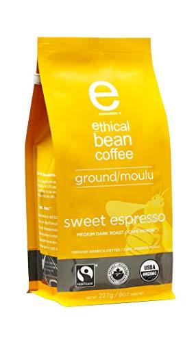 Ethical Bean Fair Trade Organic Coffee Sweet Espresso Medium Dark Roast Ground Espresso Coffee - 8oz 227g Bag