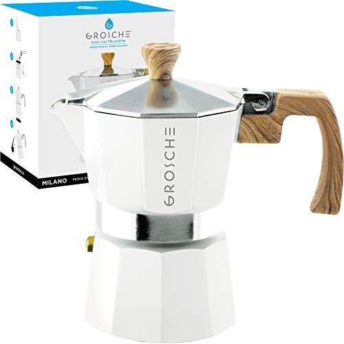 GROSCHE Milano Stovetop Espresso Maker Moka pot 3 Cup - 5 oz White - Cuban Coffee Maker Stove top coffee maker Moka Italian espresso greca coffee maker brewer percolator