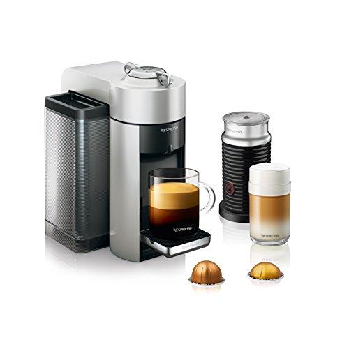 Nespresso by DeLonghi ENV135SAE Vertuo Evoluo Coffee and Espresso Machine Bundle with Aeroccino Milk Frother by DeLonghi Silver