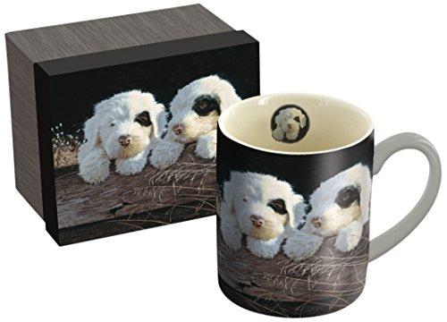 LANG - 14 oz Ceramic Coffee Mug - Puppies Artwork by Jim Lamb - White and Black Puppies