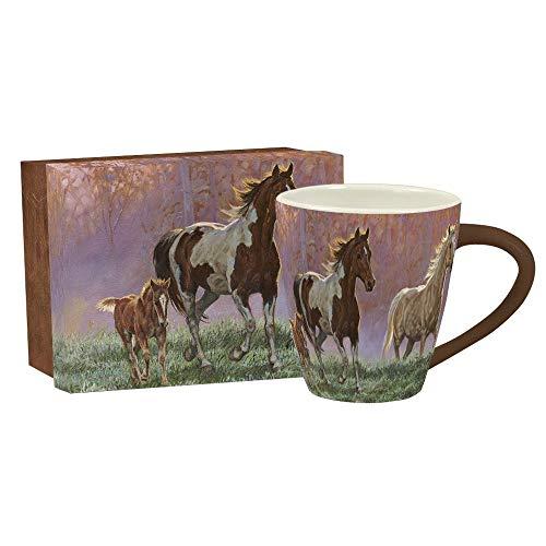 LANG - 17 oz Ceramic Cafe Mug -Morning Sun - Artwork by Chris Cummings - Horses at Dawn