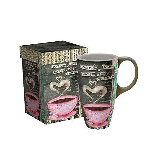 LANG - 18 oz Ceramic Latte Mug -I Love Coffee - Artwork by Lisa Kaus