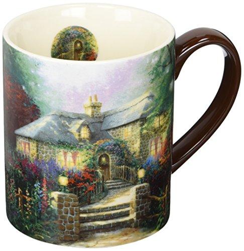 Lang Hollyhock House Mug by Thomas Kinkade 14 oz Multicolored