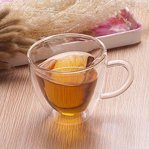 Kslong Clear High Borosilicate Heat Resistant Glass Double Wall Tea Cup Creative Heart-shaped Tea Cups Juice Milk Coffee Glass Creative Mugs 180ml