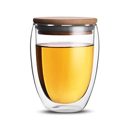 ONEISALL Double Wall Coffee Tea Mug Clear Glass Drinking CupHeat-resistant Beer&Wine Mug With Bamboo Lid 350ML
