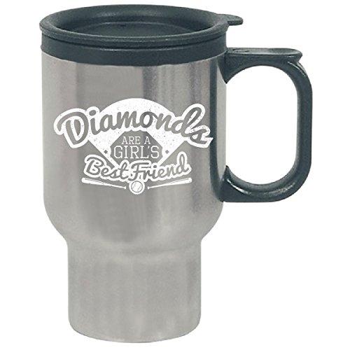 Softball Diamonds Are A Girls Best Friend Vintage White - Travel Mug