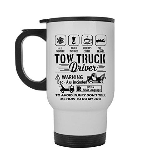 Tow Truck Driver White Travel Mug - Tow Truck Driver Travel Mugs Ceramic Cool Design Gift For Friend Family White Travel Mug