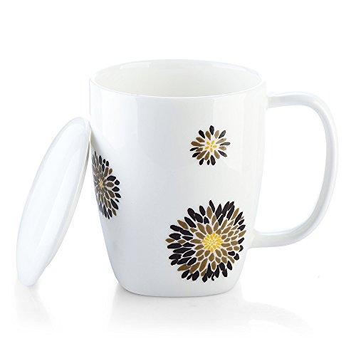 ZENS 1005oz Ceramic Heat Changing Coffee Mug with Lid White Travel Mug with Handle – Blooming Flower Pattern