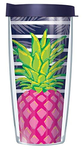 Pineapple On Navy Stripe Wrap 16 Oz Travel Tumbler Mug with Lid