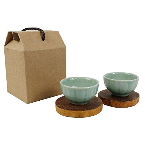 Set of 2 Matcha Tea Bowl Tenmoku Teacup Chinese and Japanese Korean Kungfu Celadon Tea Cup Handmade Tea Cup with Saucer