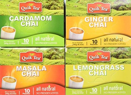 QuikTea Chai Tea Latte 4 Flavor Variety Pack CardamomMasalaGingerLemongrass 960 Gram Packaging May Vary