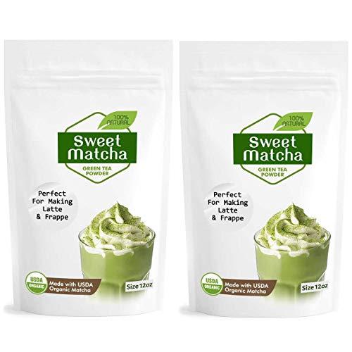 Sweet Japanese Matcha Latte Green Tea Powder - Latte Grade 12oz - 2 pack - Made with USDA Organic Matcha