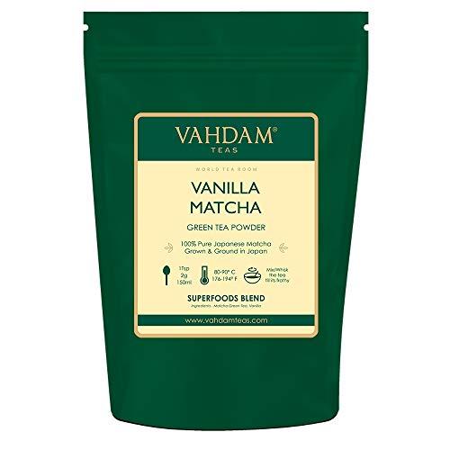 VAHDAM Vanilla  Matcha Green Tea Powder - Brew Delicious Vanilla Matcha Latte  Powerful SUPERFOODS Blend  Japanese Matcha Powder with 100 Natural Vanilla  137x Anti-OXIDANTS 176oz 25 Cups