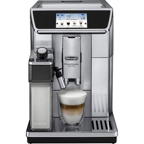 Delonghi super-automatic espresso coffee machine with double boiler milk frother chocolate maker for brewing espresso cappuccino latte macchiato hot chocolate ECAM65075MS PrimaDonna