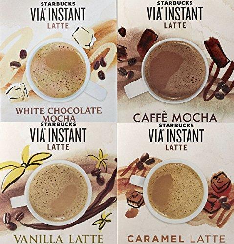 Starbucks VIA Latte Samplers - Caffe Mocha Vanilla Latte White Chocolate Mocha Caramel Latte 8 Packets