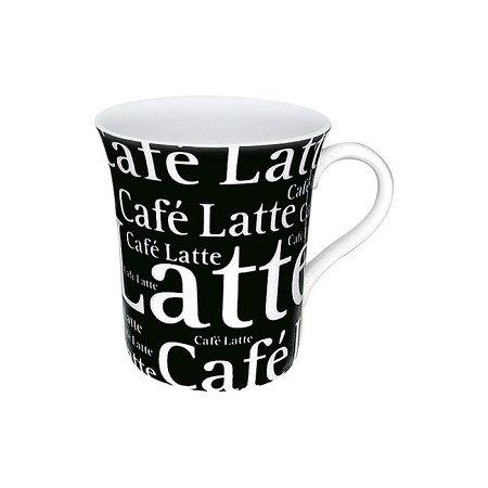 Konitz Mug - Medium - Cafe Latte Writing - White on Black