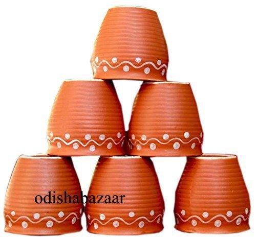 Odishabazaar Ceramic Kulhar Kulhad Cups Traditional Indian Chai Tea Cup Set of 6 Tea Mug Coffee Mug