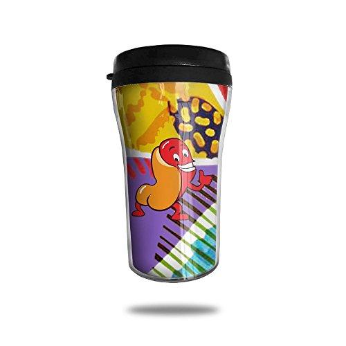 Funny Hotdog Guy Cartoon Vector Illustration Simple Modern Coffee Cup Vacuum Insulated Vacuum Cup