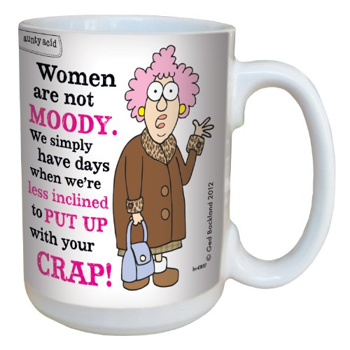 Hilarious Aunty Acid Moody Large Coffee Mug 15-Ounce Cup lm43837 - Funny Unique Gag Gifts for Office Coworkers and Women - Tree-Free Greetings