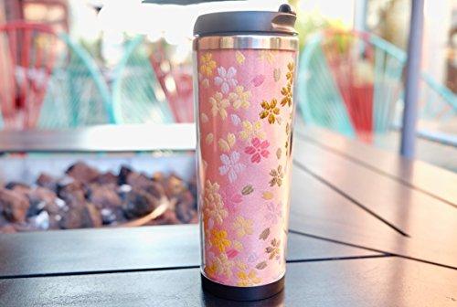 Kimono Travel Coffee Mug Sakura Spring Pink - Coffee Cup - Kimono Fabric - Coffee Tumbler - Japanese Travel Tea Mug - Coworker Gift