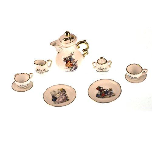 Alice in Wonderland - Dolls House Mini Porcelain Coffee Set