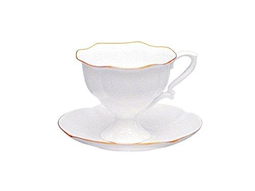 Lomonosov Porcelain Coffee Set Cup and Saucer Golden Ribbon Natasha 2 pc Wedding