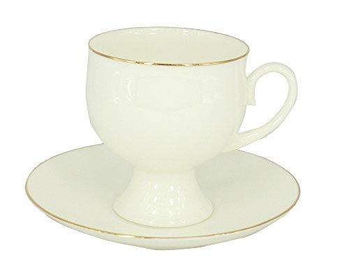 Lomonosov Porcelain Set Golden Ribbon Bone China Coffee Cup 54 oz160 ml and Saucer