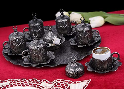 Antique Gray Turkish Coffee Cups Set For Six Person