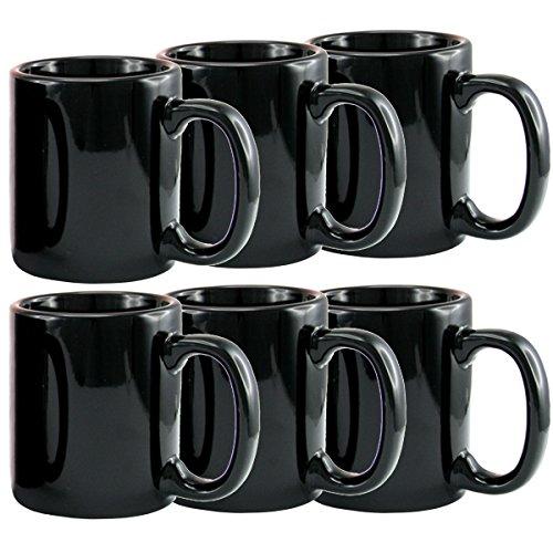 Creative Home 85344 Set of 6 Piece Ceramic Coffee Mug Tea Cup 12 oz Black