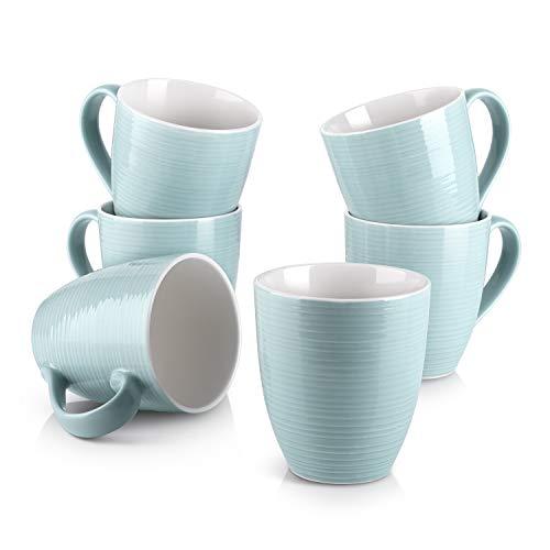 DOWAN Coffee Mugs 17 Oz Coffee Mug Set of 6 Corrugated Tea Mugs Turquoise