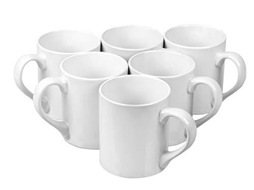 Klikel 6 White Mugs Sleek - 12oz Solid Flat Bottom Porcelain Dinnerware - Ceramic Mug Set - Coffee Tea Hot Cups - Lead Free