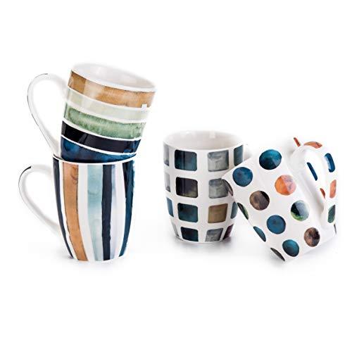 MACHUMA Set of 4 115oz Marble Patterns Coffee Mugs Ceramic Tea Cup Set