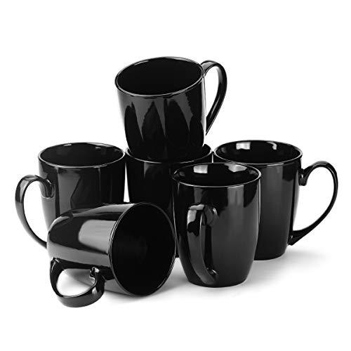 MECOWON 13 OZ Porcelain Mugs Set of 6 Tea and Coffee Mugs Black