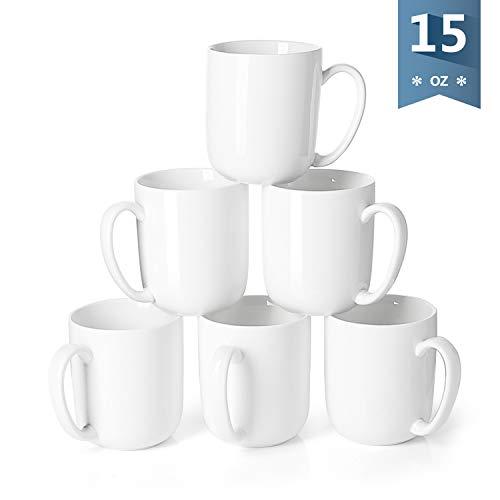 Sweese 604001 Porcelain Mugs for Coffee Tea Cocoa 15 Ounce Set of 6 White