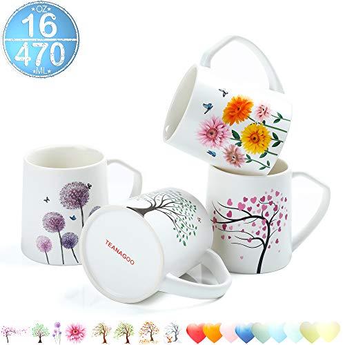 TEANAGOO MS025-1 Porcelain Mugs - 16 Ounce Tree Flower for Coffee Tea Cocoa Set of 4