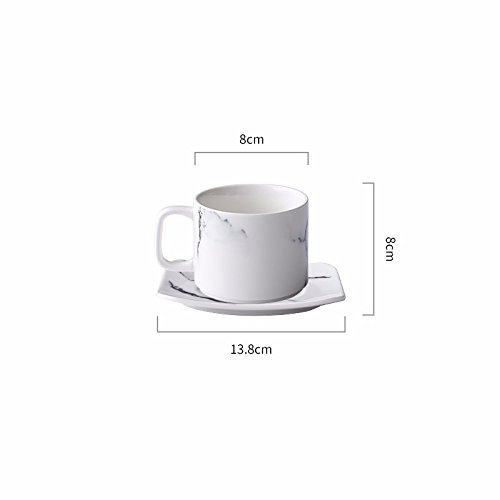 SSBY Ceramic Coffee Set Marble Breakfast Milk Cup Home Tea Cup Saucer Set