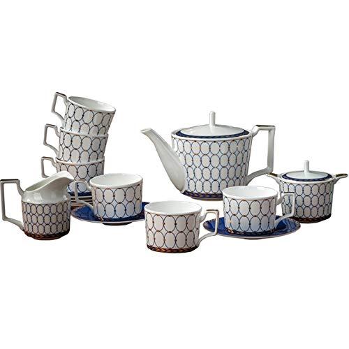 Creative bone china coffee set ceramic coffee cup European flower tea cup English afternoon tea 6 cups 6 dishes teapot creamer and sugar set Chinese tea set