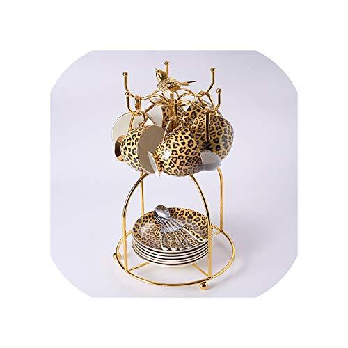 Leopard Print Bone China Coffee Set Luxury Porcelain Tea Set Advanced Pot Cup Ceramic Mug Sugar Bowl Creamer Teapot Drinkware6Cups Birdcage