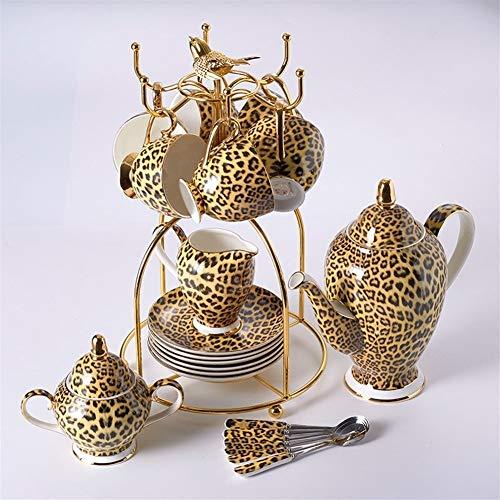 VIOAPLEM Leopard Print Bone China Coffee Set Luxury Porcelain Tea Set Advanced Pot Cup Ceramic Mug Sugar Bowl Creamer Teapot Drinkware Color  16PCS Set