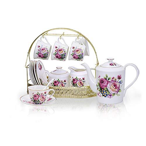 ufengke 15 Piece European Ceramic Tea SetsChina Coffee Set with Metal HolderPink Rose Painting Straight Coffee Tea Pot