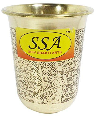 SHIV SHAKTI ARTS Handmade Pure Brass Embossed Glass Tumbler Volume - 200 Ml