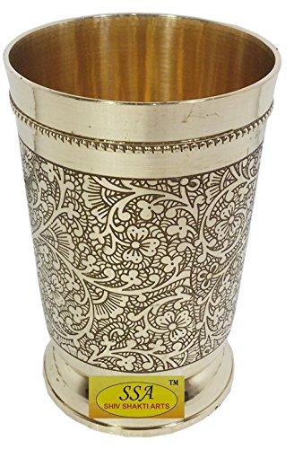 SHIV SHAKTI ARTS Handmade Pure Brass Embossed Glass Tumbler Volume - 300 Ml