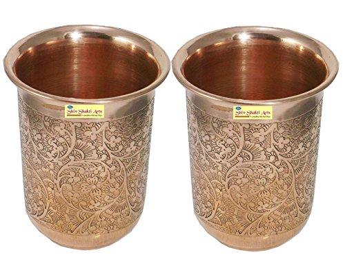 SHIV SHAKTI ARTS Handmade Pure Copper Embossed Glass Tumbler Volume - 200 Ml 1