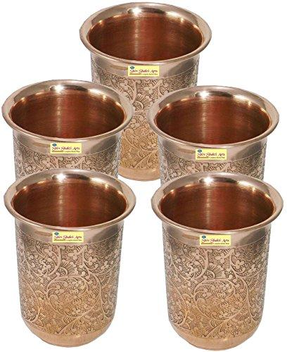 SHIV SHAKTI ARTS Handmade Pure Copper Embossed Glass Tumbler Volume - 200 Ml 5